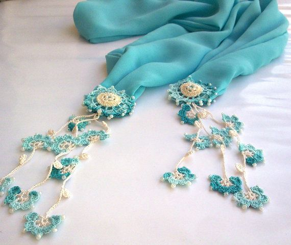 Mint Green Foulard with Turkish Lace Oya by redappletr on Etsy, $24.99