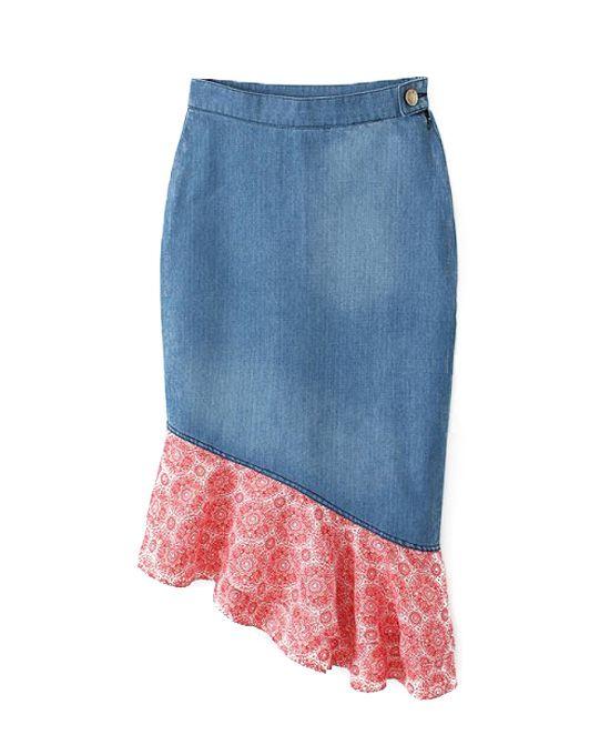 Split Joint Irregular Denim Skirt