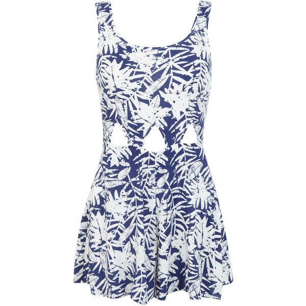 Miss Selfridge Petites Blue Print Playsuit ($18) ❤ liked on Polyvore featuring jumpsuits, rompers, dresses, jumpsuit, playsuits, dresses/rompers, blue, petite, playsuit romper and patterned jumpsuit