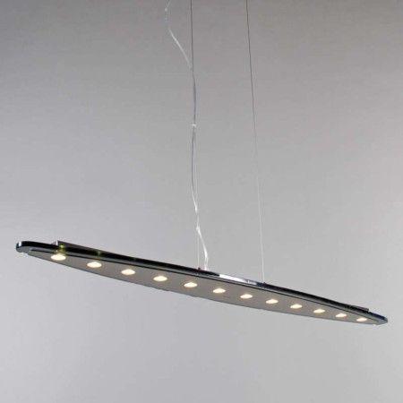 Pendelleuchte Credo oval 120 LED schwarz: Wunderschöne Designer Pendelleuchte aus gebürstetem Stahl in Kombination mit einem eleganten, schwarzen und ovalen Glas. Komplett mit zwölf 3-Watt-Led's für ein tolles Licht und niedrigen Verbrauch. #innenbeleuchtung #Pendelleuchte #Licht #modern #hängelleuchte