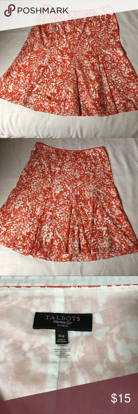 """Talbots Women's Skirt Size 16 W Orange-white Size 16W  Floral skirt  Orange and white colored  Length-28.5  Waist-40""""  Great Condition no stains or holes Talbots Skirts"""