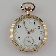 Fina suizo 14K Oro Reloj de bolsillo um 1890 14kt Montre gousset