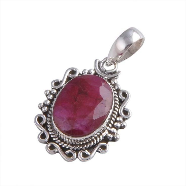 EXCLUSIVE 925 STERLING SILVER 6.64g RUBY PENDANT JEWELLERY P0217 #Handmade #PENDANT