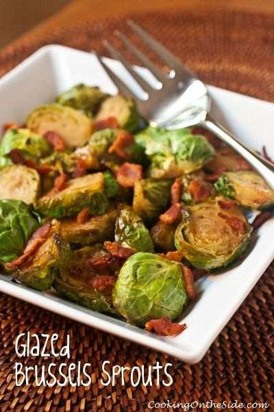 Glazed Brussels Sprouts...get the recipe at www.cookingontheside.com