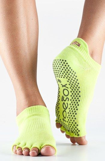 Kinda weird but probably practical--Love these grippy #yoga socks in #citron http://rstyle.me/n/gucuznyg6
