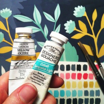 gouache paints -- they are opaque; you can paint a surface blue, let it dry, then paint over it with red and not get purple. Otherwise, this blogger says it behaves a lot like watercolors.