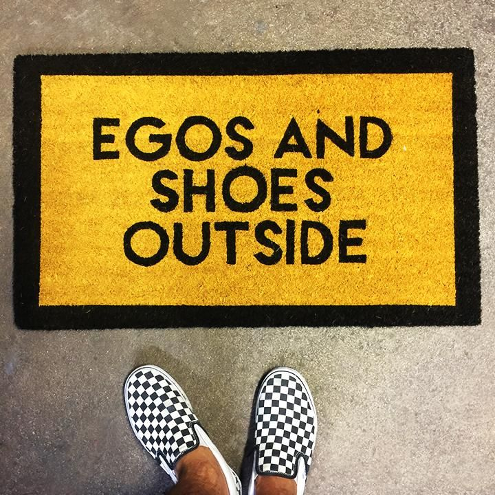 EGOS AND SHOES OUTSIDE PRINTED RECYCLED DOOR MAT