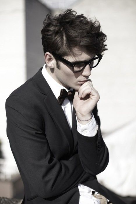 : Men Clothing, Messy Hair, Men Hair, Bows Ties, Glasses, Bow Ties, Men Fashion, Bowties, Geek Chic