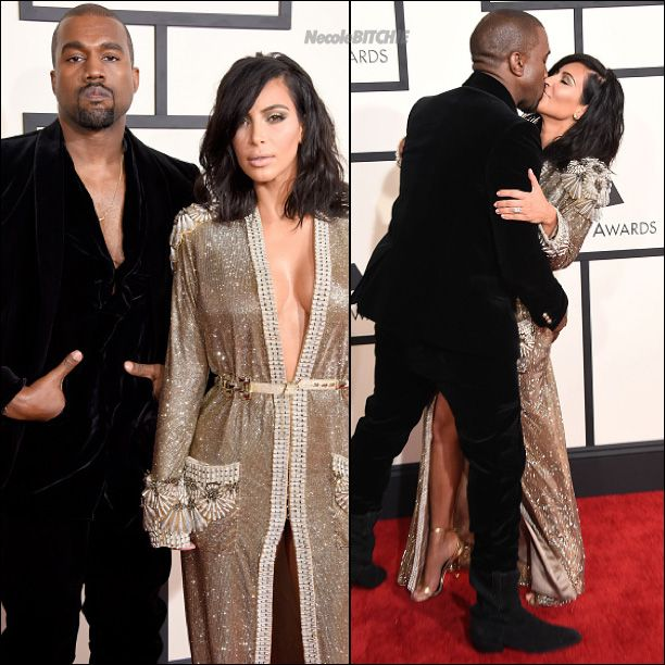 Kanye WEt and Kim Kardashian  attend The 57th Annual GRAMMY Awards