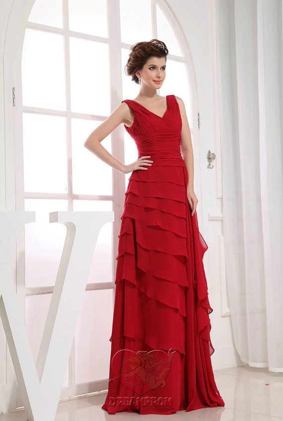 2013 Custom Handmade Red Tiered Chiffon Ruched by angeldreamprom, $135.99