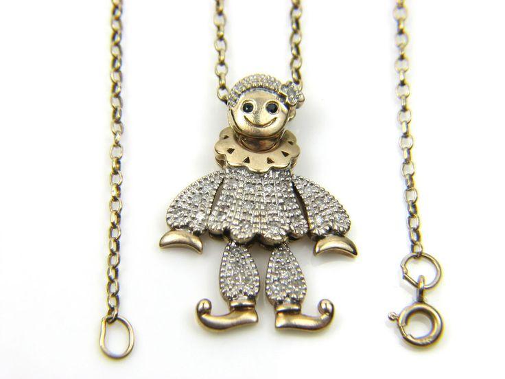9carat 9ct Gold Chain & Pierrot Clown Pendant with Diamonds.