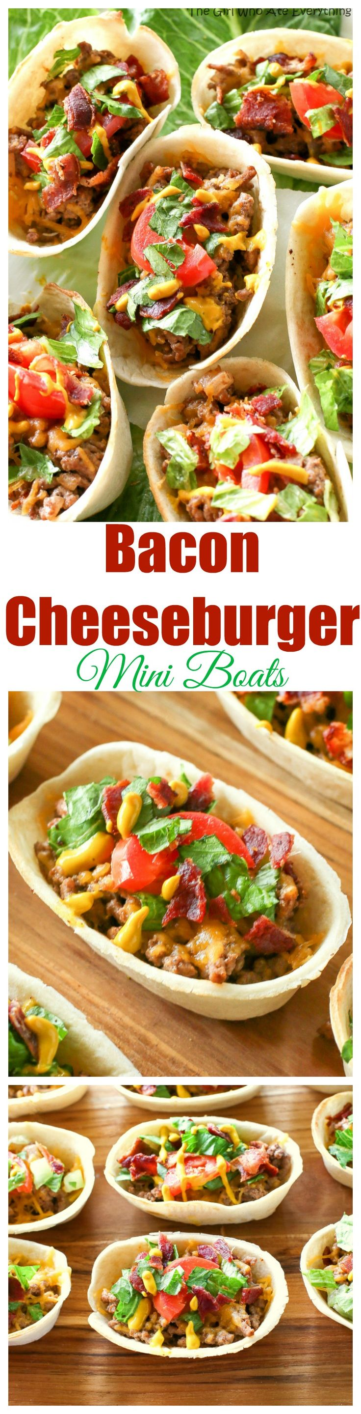 These Bacon Cheeseburger Mini Boats take your regular taco up a notch! Beef, bacon, cheese, and all your favorite burger toppings in one taco. You'll love these! the-girl-who-ate-everything.com