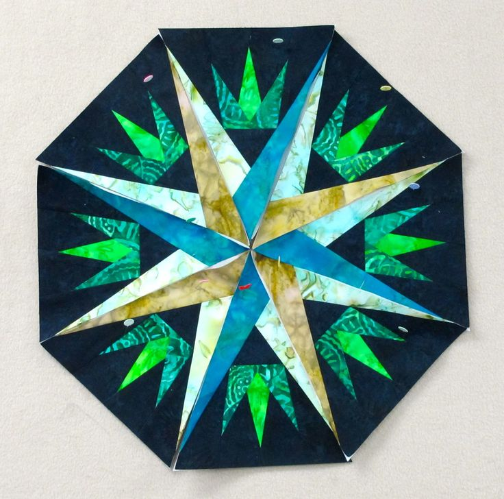 mariner's compass quilt pattern paper pieced | Day 3... Mariner's Compass