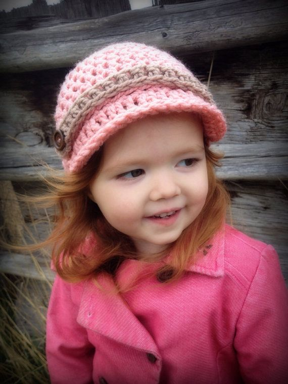 Girls Crochet Newsboy Hat~Pink/Tan with Wooden Buttons~ on Etsy, $17.00 CAD