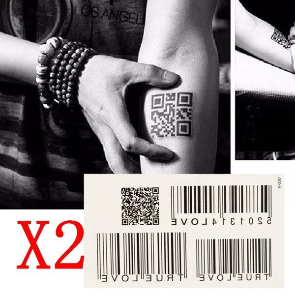 2Pcs Waterproof Barcode Totem Tattoos Removable Body Art Stickers  B1048939 by Showy4you on Etsy