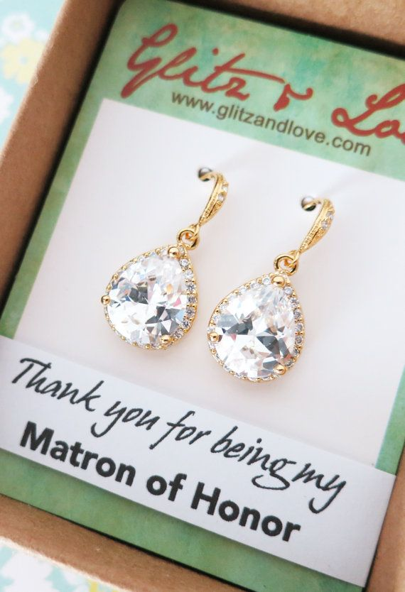 Luxe Cubic Zirconia Teardrop Gold Earrings, gifts for her, Bridal Earrings, Bridesmaid earrings, Champagne gold weddings, jewelry, www.glitzandlove.com