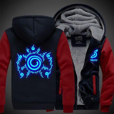 Anime Naruto Uzumaki Luminous Unisex Thicken Sweatshirt Hoodie Jacket Coat ##28