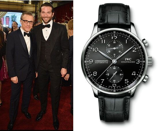 Bradley cooper right wearing an iwc portuguese chronograph at the oscars celebrity wrist for Celebrity sextortion watch