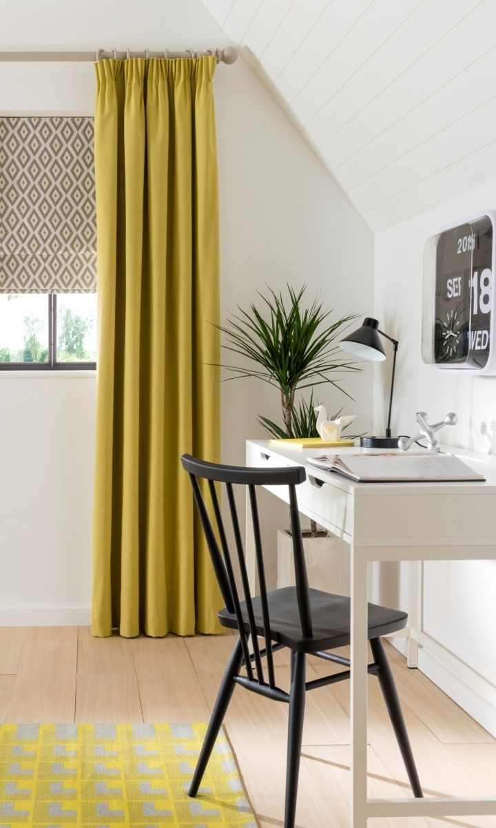 Lift a monochrome interior by using an extra colour, adding yellow is a great way to do this by adding a pop of colour without overpowering the rest of the decor. Made to measure Laverne Sulphur Roman Blinds and Tetbury Mustard Curtains, work well to add colour in a mix of pattern and plain.
