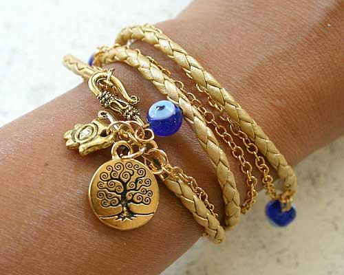 Evil Eye Protection Leather And Chain Bracelet With Tree