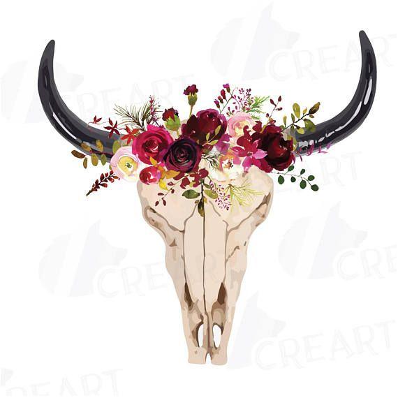 Acuarela Floral cráneo de Toro Imágenes Prediseñadas cráneo