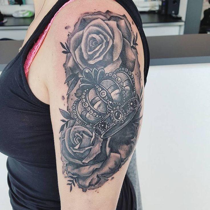 crown rose tattoo