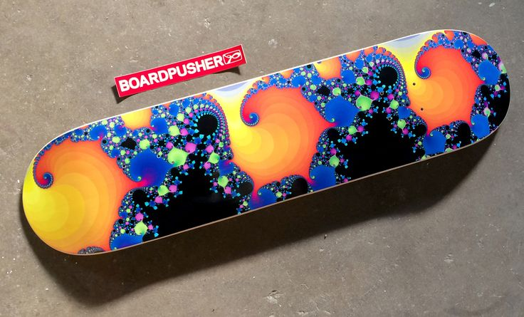 """www.BoardPusher.com Custom Skateboards Featured Deck of the Week: """"Psychedelic Fractal Pattern"""" by Brady Arnold. Find out how to customize your own at http://www.BoardPusher.com/blog/featured-deck-of-the-week-psychedelic-fractal-pattern-by-brady-arnold"""