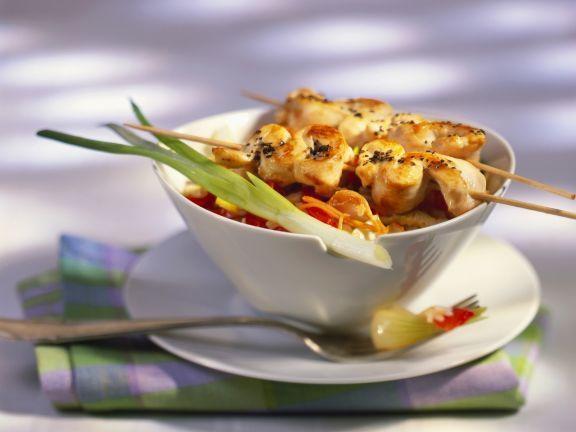 Nasi Goreng mit Hähnchenspieße (Satay) ist ein Rezept mit frischen Zutaten aus der Kategorie Hähnchen. Probieren Sie dieses und weitere Rezepte von EAT SMARTER!