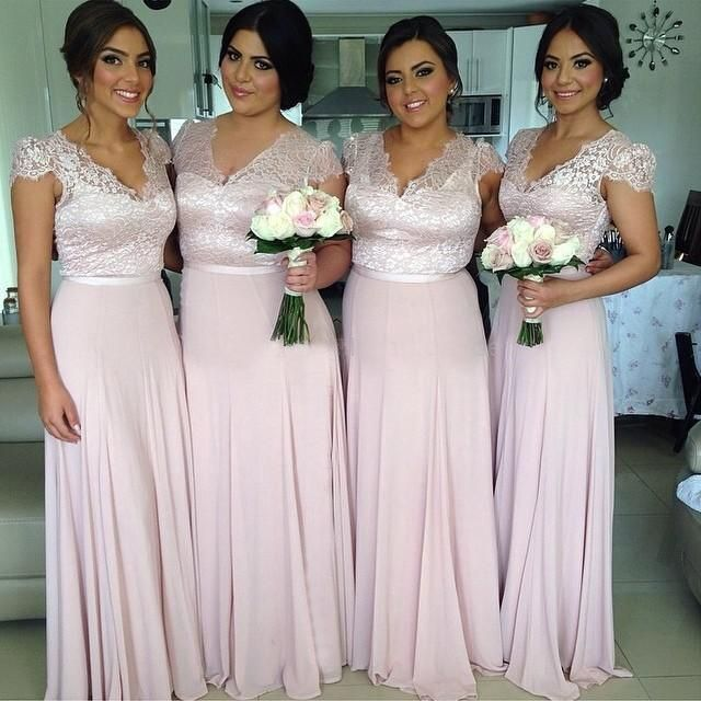 New 2015 Cheap Bridesmaid Dresses with V Neck Short Sleeve A Line Lace Top Hot Pink Formal Prom Dress New Arrival Party Gown, $83.77 | DHgate.com