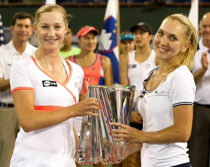 Congratulations to our 2013 Doubles Champions Elena Vesnina & Ekaterina Makarova; & our Runners-up Nadia Petrova & Katarina Srebotnik! — Women's Doubles Final ---- BNP Paribas Open Indian Wells Tennis Garden misspelled words in their tweet. #Oops....  But Im happy for these two very nice players!