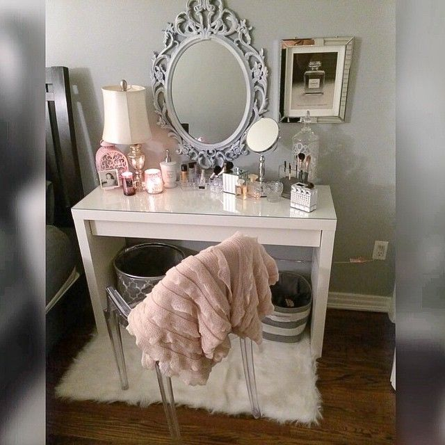 The mirror is everything! Pretty sure the chair, dressing table and mirror are all from Ikea. Like this photo if you're inspired by this set-up!
