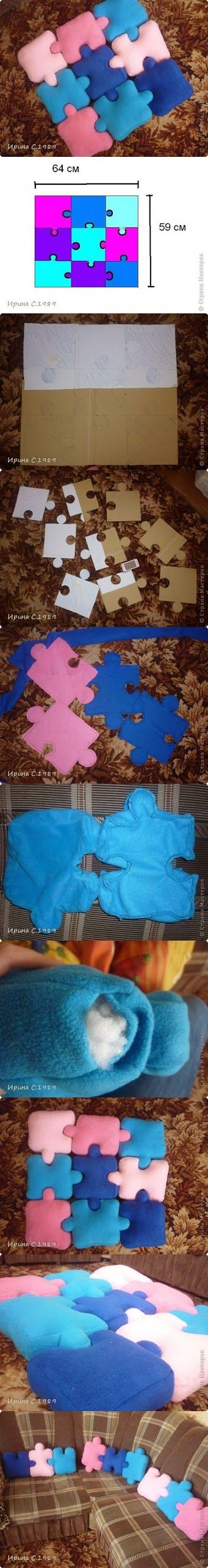 DIY : How to make a Puzzle Pillows