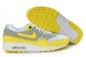 Acquistare nike uomo air max 1 scarpe lupo-grigio/gialle/bianche sconti dalla cina