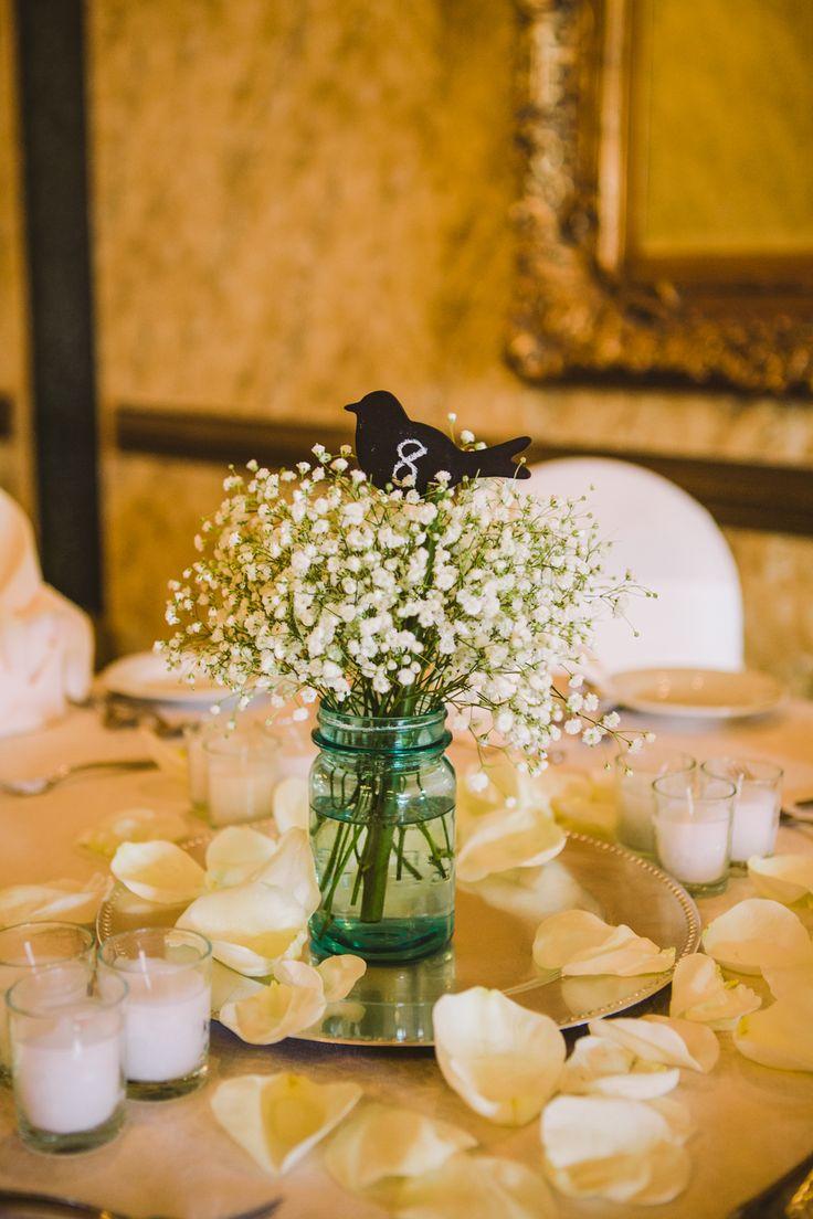 Wedding Centerpiece - Rustic & Shabby Chic Babys breath in blue mason jar with chalk board bird table number CarolynScottPhotography.com
