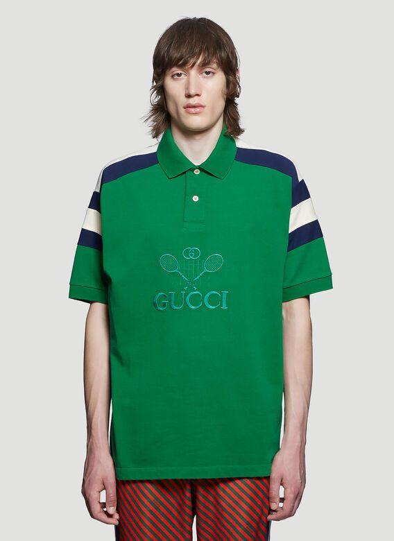 0a22ef3c8 GUCCI Embroidered Tennis Polo Shirt in Green. #gucci #cloth | Gucci ...