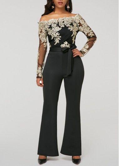 ed521ff8599 Peplum Waist Scalloped Neckline Lace Panel Black Jumpsuit