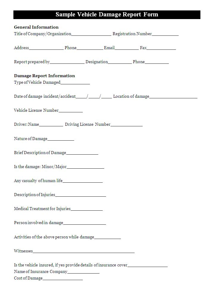 Vehicle Damage Report Template   Report Templates   Report ...