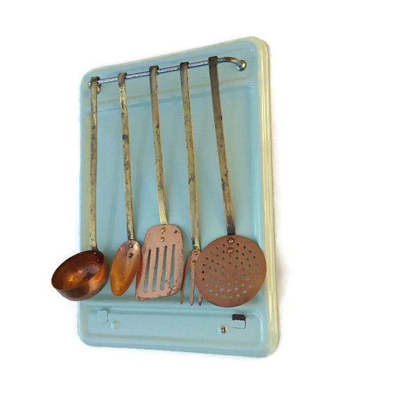 French Vintage Utensil Hanging Rack With Copper & Brass