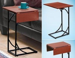 tray tables slide under couch | ... side sofa snack fliptop dropleaf expandable laptop computer table new
