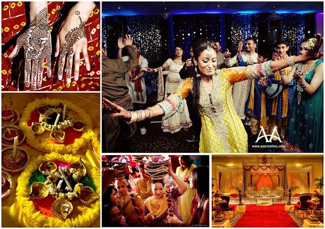 Mehndi And Haldi Ceremony : Girl s side sangeet mehndi haldi ceremonies wedding
