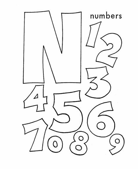 ABC Coloring Sheet, Letter N is for Numbers