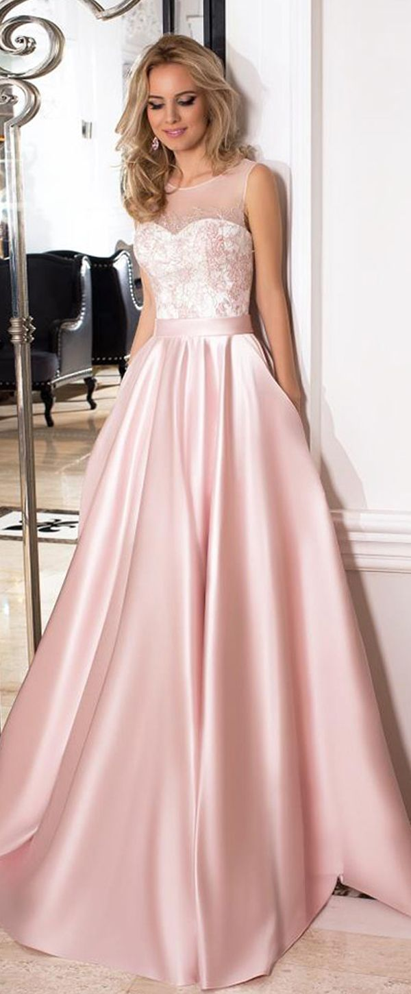 Stunning Tulle & Satin Jewel Neckline A-line Prom Dresses With Belt & Pockets