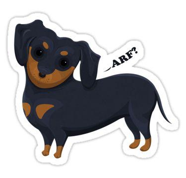 Cartoon Dachshund Stickers by AnMGoug on Redbubble. #dog #dachshund #sticker