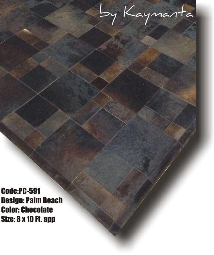 Patchwork Cowhide Rug - Palm Beach Design, Chocolate Color - 8 x 10 Ft. Hair on Cow Leather Carpet