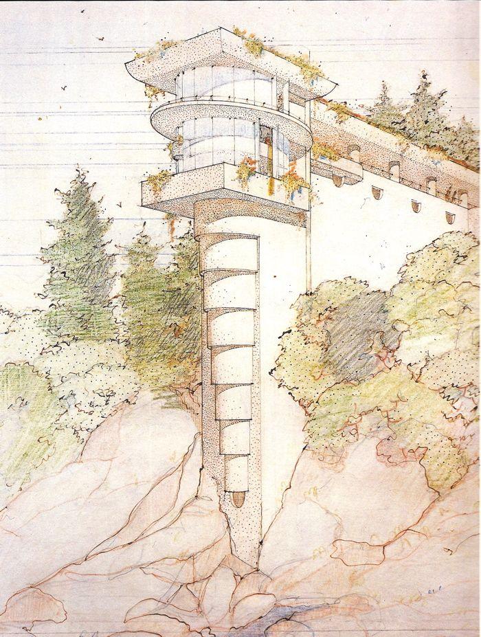 "Morris Residence (a.k.a. ""Seacliff"") by Frank Lloyd Wright (unbuilt), rendering by John deKoven Hill"