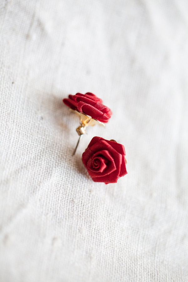 Red Rose Flower Earrings $10.00, via Etsy.