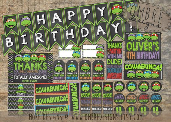 TMNT Party Package 25% OFF Ninja Turtles Party by OmbreDesigns
