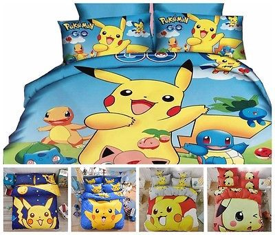 Pokemon Go Pikachu Bedding Set Duvet Cover Set Pillowcase Xmas Gift Bed Sheet in Home & Garden, Bedding, Duvet Covers & Sets | eBay