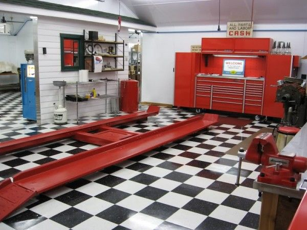 An actual auto shop from the 1930's converted to a personal garage