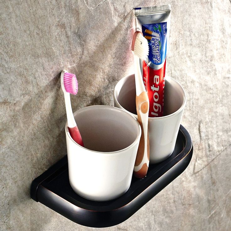 Luxury European Black Copper ToothBrush Tumbler&Cup Holder High Quality Double Cups Brushed Rack  Bathroom Accessories Sets T25